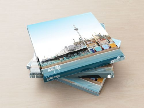 Brighton Skyline Blue - Glass Coasters